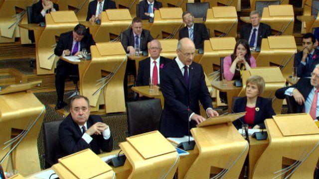 John Swinney addresses the Scottish Parliament