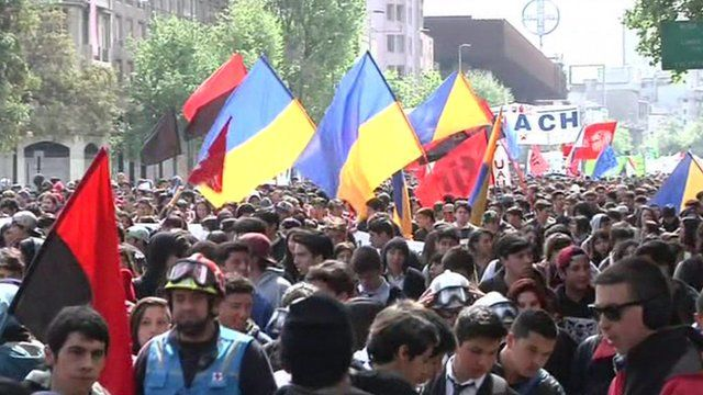 Crowds with flags