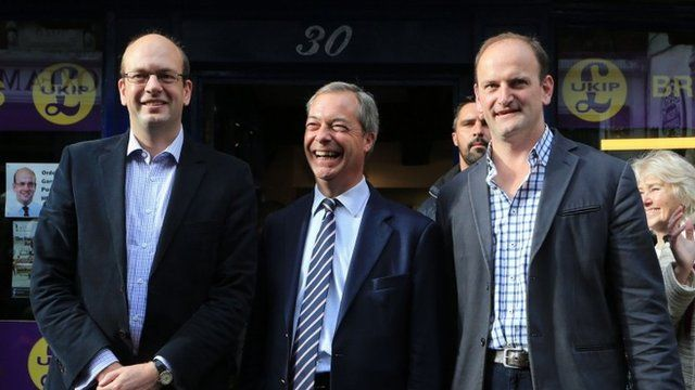 "Ukip leader Nigel Farage (centre) and newly elected Ukip MP Douglas Carswell (right) joins their party""s candidate Mark Reckless on Rochester High Street"