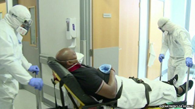 Department of Health footage of man on a stretcher