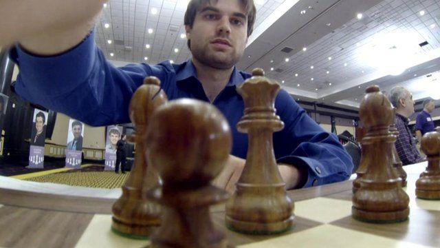 Man playing chess in Las Vegas tournament