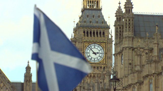 Scottish Saltire in front of Houses of Parliament