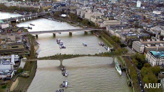 The proposed garden bridge