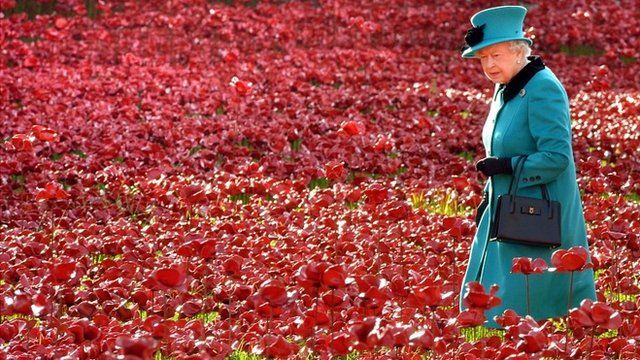 Queen Elizabeth II at the Tower of London's Blood Swept Lands and Seas of Red installation
