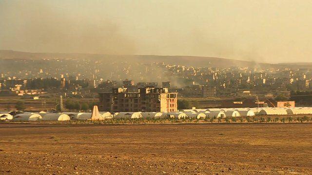 Smoke rising from Kobane