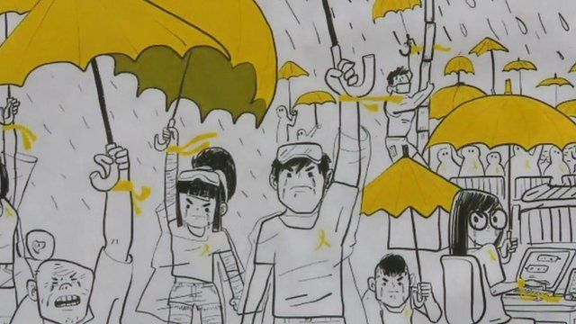 Close-up of cartoon-style artwork on Hong Kong street showing protesters with yellow umbrellas