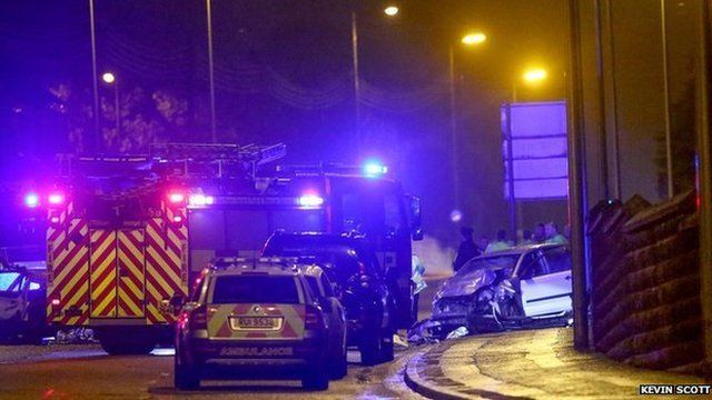 Police were chasing one of the cars before the fatal crash on Saintfield Road on Thursday