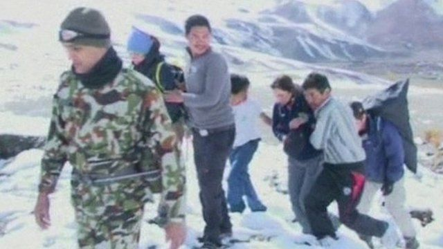 Survivors of the blizzards which hit trekkers on the Annapurna trail