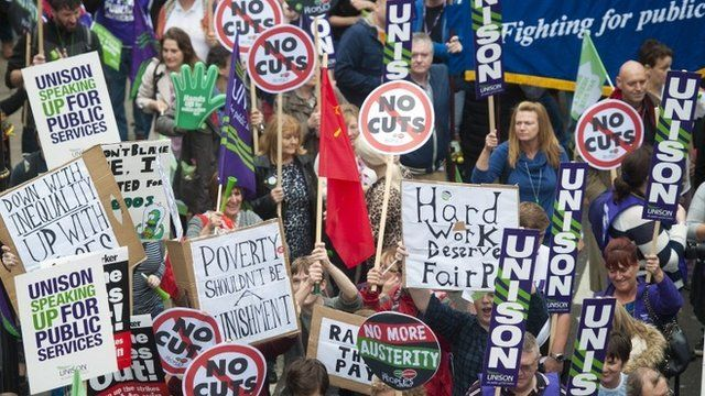 Demonstrators take part in the Britain Needs a Pay Rise march in London