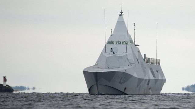 The Swedish corvette HMS Visby in Mysingen Bay on 21 October, on a fifth day of searching for a suspected foreign vessel in the Stockholm archipelago