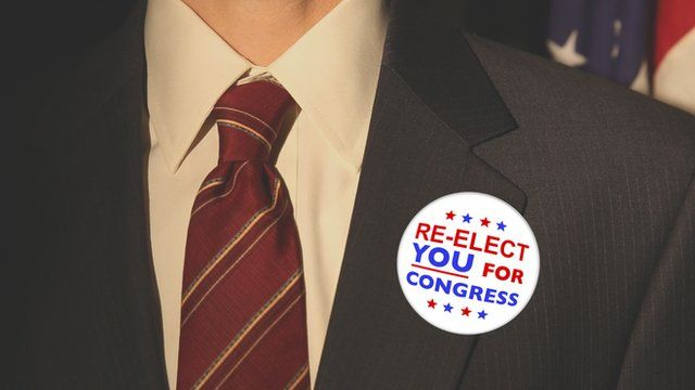 US congressional re-election button on jacket lapel