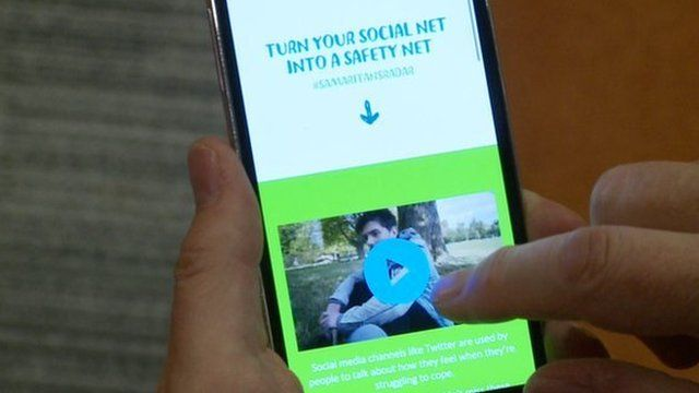 Phone showing the Samaritans Radar app