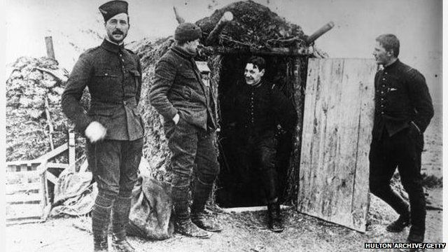 Soldiers at a bunker