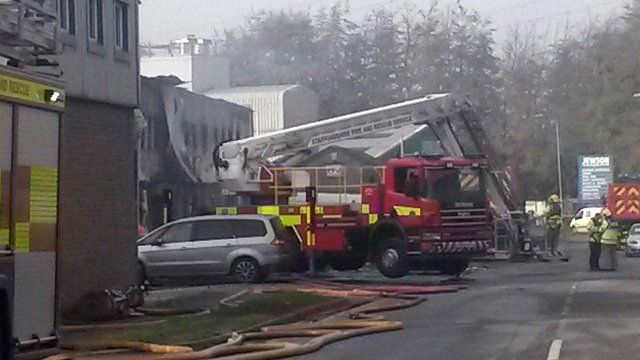 Scene of fireworks blaze in Stafford