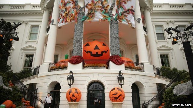 Pumpkin decorations at the White House