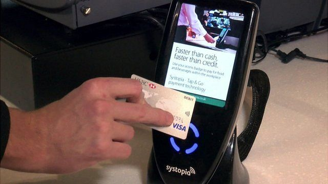 hand using contactless card