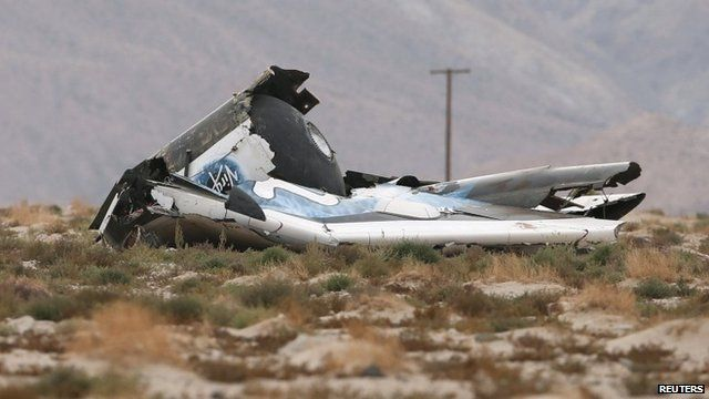 "A piece of debris is seen near the scene of the crash of Virgin Galactic""s SpaceShipTwo near Cantil"