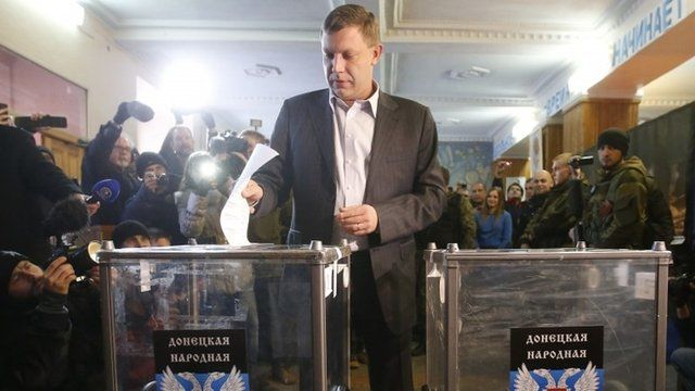 Alexander Zakharchenko, separatist leader of the self-proclaimed Donetsk People's Republic, casts a ballot during its leadership and local parliamentary elections at a polling station in Donetsk November 2, 2014