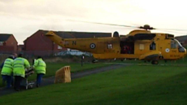 RAF rescue helicopter taking patient to hospital