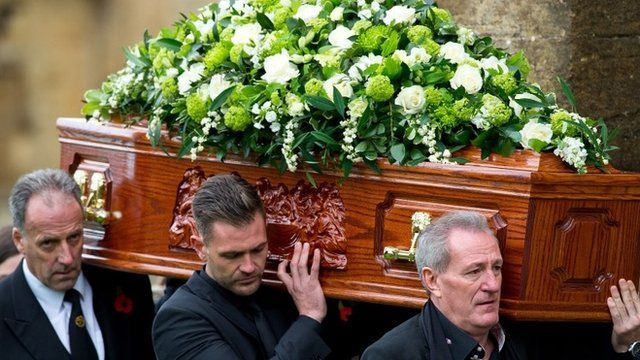 Lynda Bellingham's husband Michael Pattemore and sons carrying her coffin