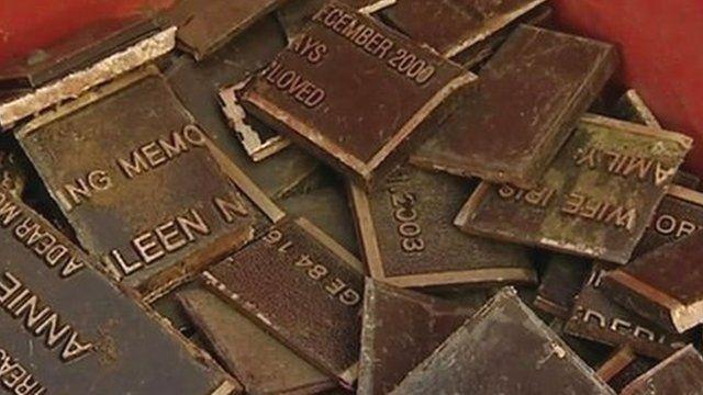 Stolen bronze memorial plaques