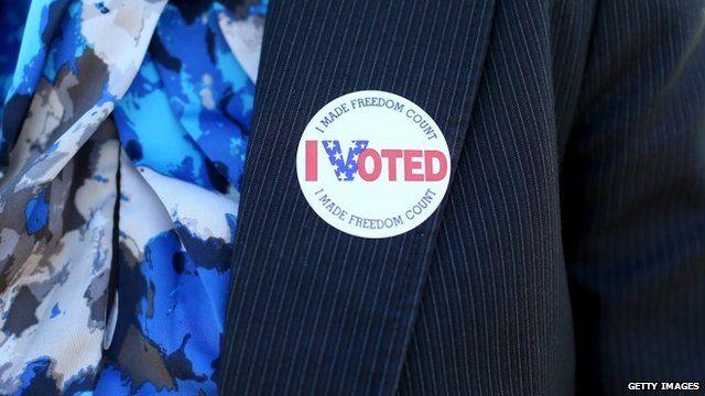 'I voted' sticker on jacket
