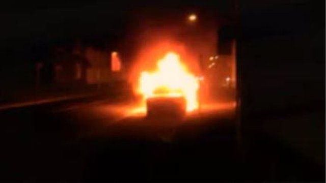 Car on fire in Earls Colne