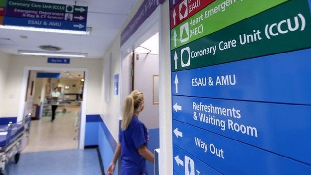 File photo dated 15/08/14 of ward signs at a hospital