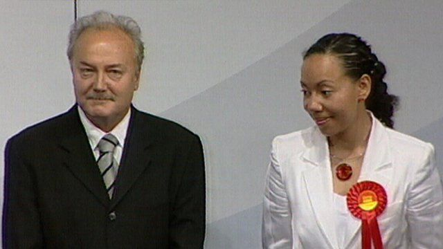 The victorious George Galloway and the defeated Oona King react to the result in Bethnal Green and Bow