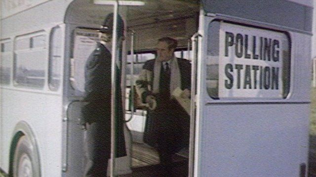 A voter makes his way out of the polling station bus in Essex during the general election of 1979