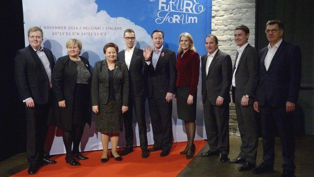 Prime Ministers of the Scandinavian and Baltic countries and Britain pose for a family picture during the Northern Future Forum seminar in Helsinki