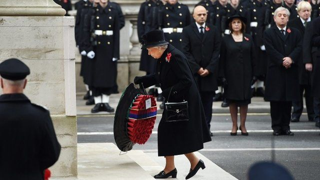 The Queen lays a wreath at The Cenotaph