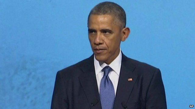 President Barack Obama speaking at Apec summit