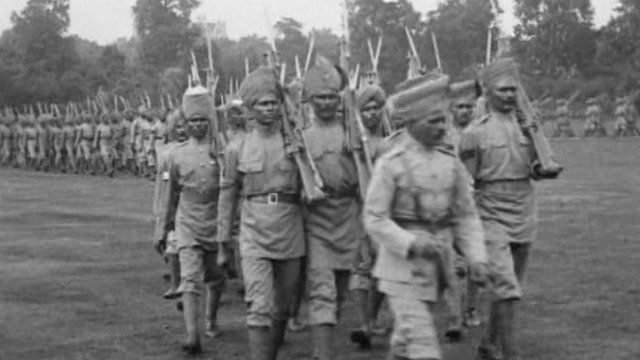 Archive image of Indian soldiers on the battlefield