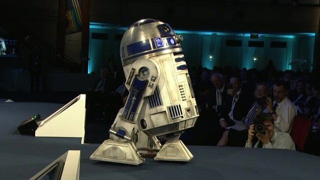 R2-D2 on stage at the CBI conference