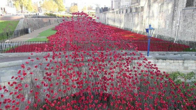 Ceramic poppies cascading over the bridge of the Tower of London