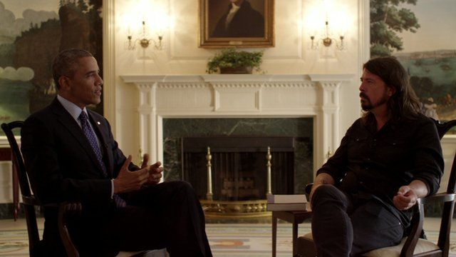 Barack Obama with Dave Grohl