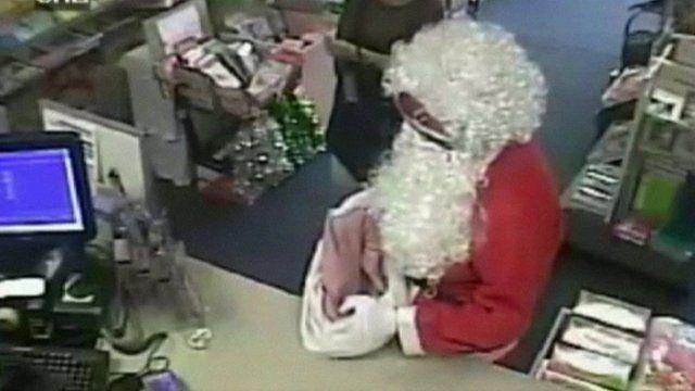 CCTV footage of robber dressed as Santa
