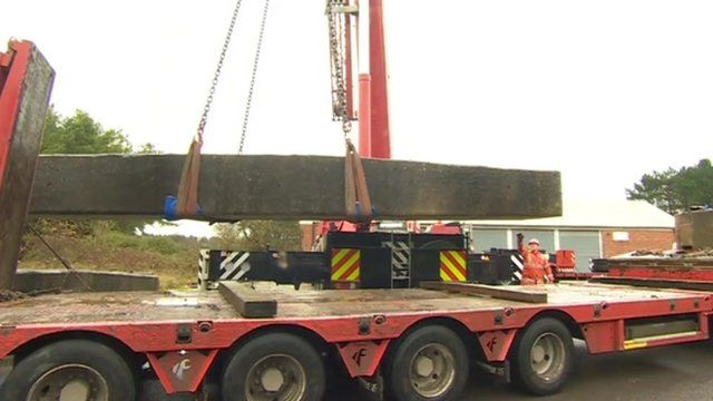 One of the replicas being loaded onto a lorry