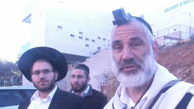 Worshippers outside synagogue that was attacked