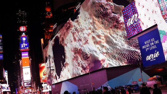 Billed as Times Square's largest and most expensive digital billboard, a new megascreen is debuted in front of the Marriott Marquis hotel on November 18, 2014 in New York City