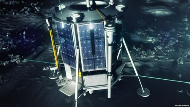A computer generated of image of a robotic probe issued by Lunar Mission