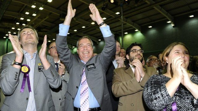 United Kingdom Independence Party leader (UKIP), Nigel Farage (C) and members of the UKIP team celebrate after Mark Reckless won the Rochester and Strood by-election at Medway Park