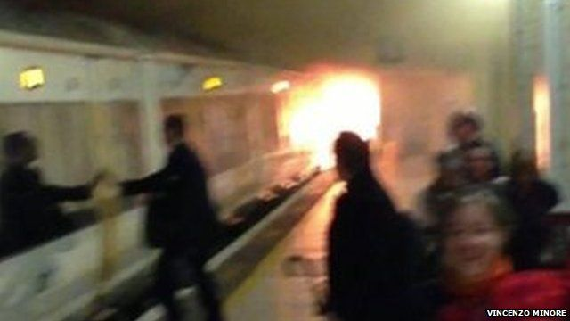 A fire on a train at Charing Cross