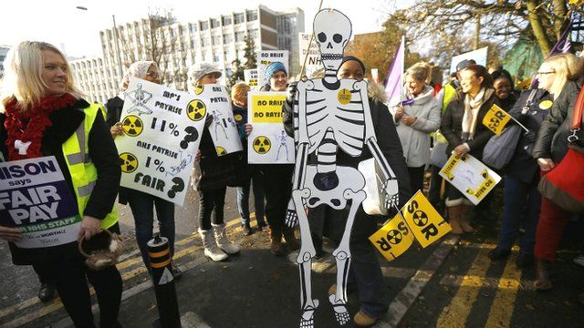 "NHS workers hold placards and a cartoon skeleton as they stand on a picket line at the Birmingham Women""s Hospital in Birmingham"