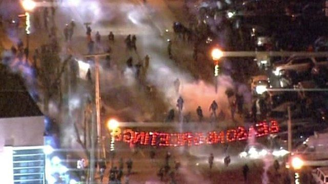 Protesters in Ferguson