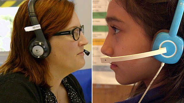 A montage image of a teacher (l) and a pupil (r) using video conferencing