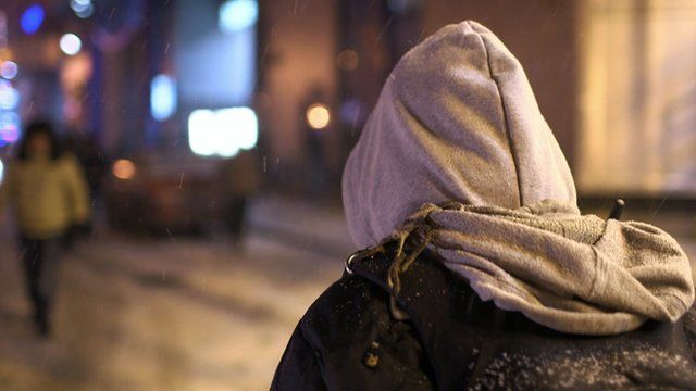 A man walks the streets in Russia