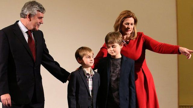 Gordon Brown, his wife Sarah and two children
