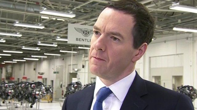 Chancellor George Osborne on a factory visit in Crewe